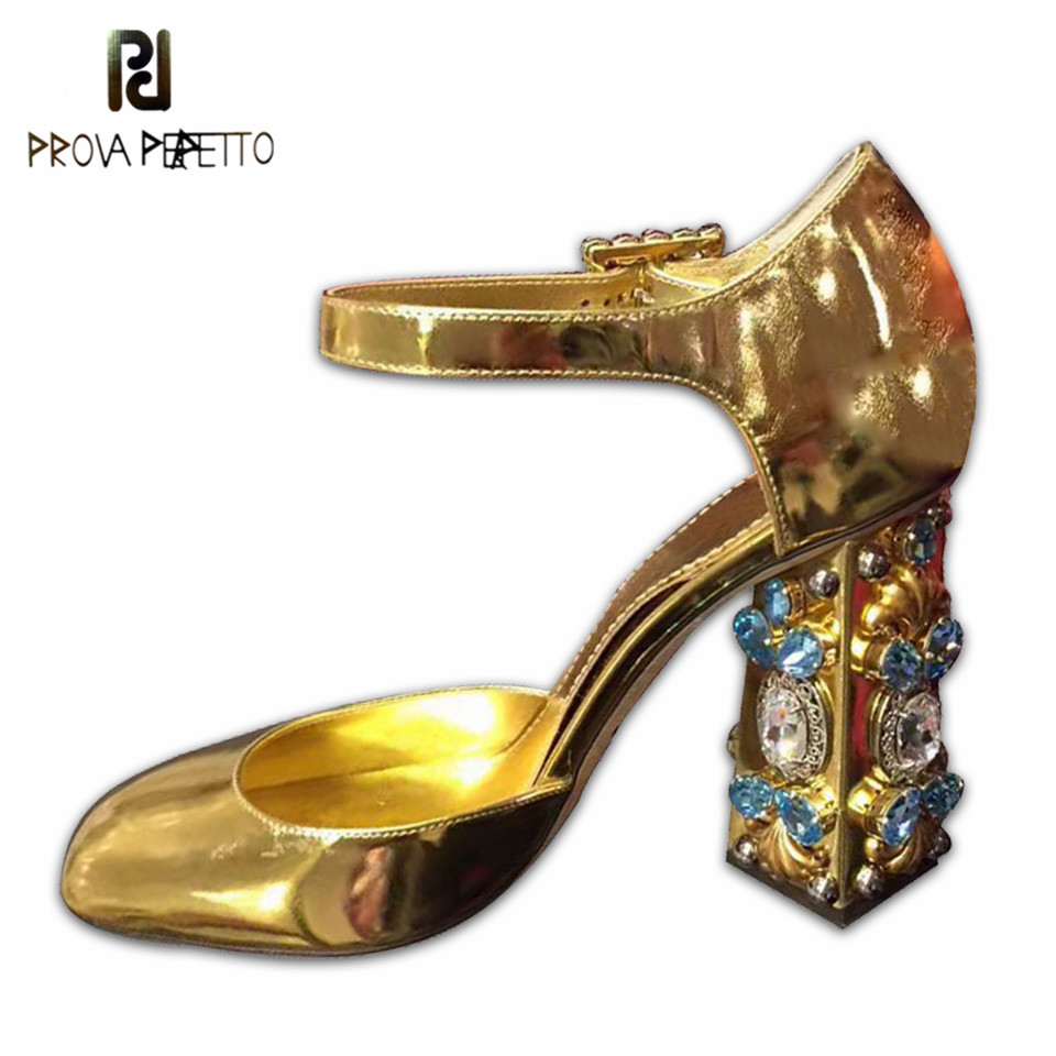 Prova perfetto Rhinestone Chunky heels Sandals Women Jeweled high heels Pumps buckle Gold silver mirror Party Shoes zapatosProva perfetto Rhinestone Chunky heels Sandals Women Jeweled high heels Pumps buckle Gold silver mirror Party Shoes zapatos