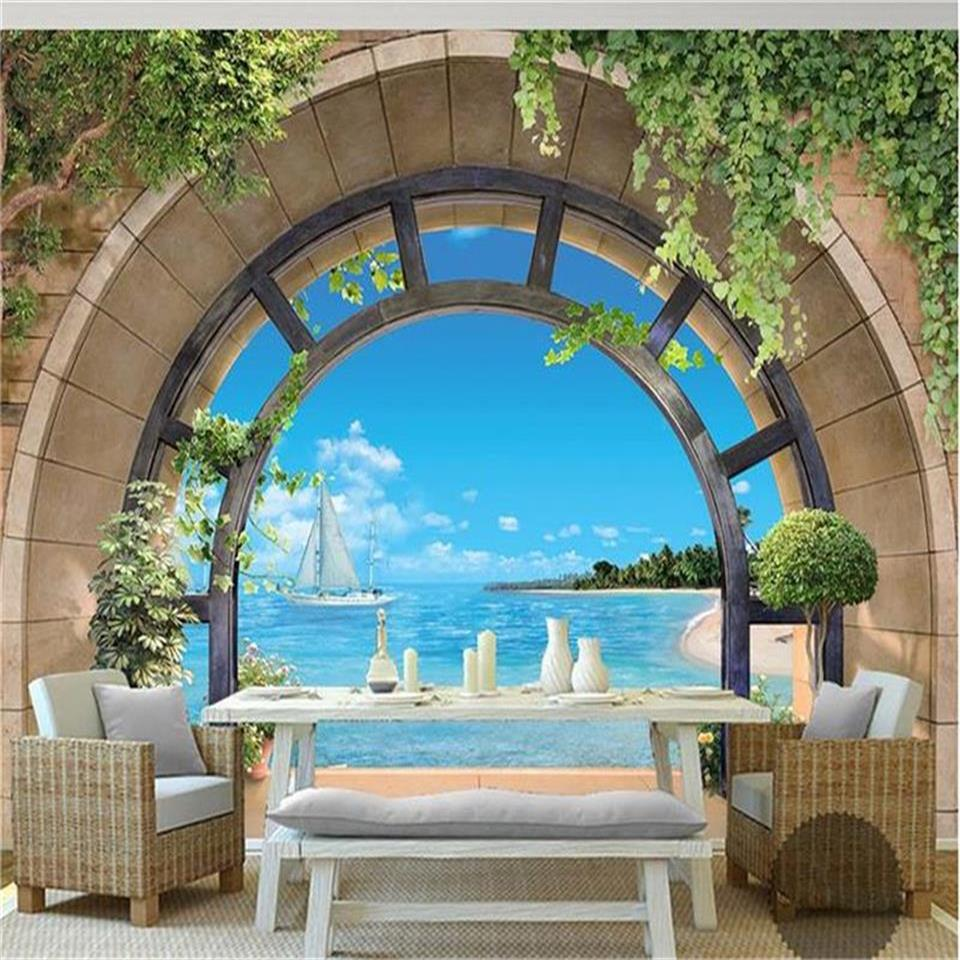 Custom 3d photo wallpaper mural living room European balcony sea view 3d painting picture sofa TV background mural wall sticker 3d rock sea floor sticker