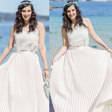 Hot Ladies fashion casual summer A line High Waist Flared Pleated Swing solid Long font b