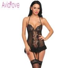 65138e08d1 Avidlove mujer lencería Sexy ropa interior transparente trajes Liga lencería  Sexy conjunto con cinturones G-string lenceria feme.