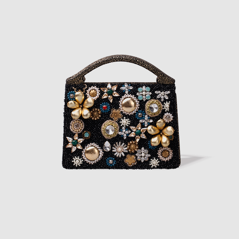 LOCAL FOCAL Stylish floral handbag local focal party handmade pearl handbag