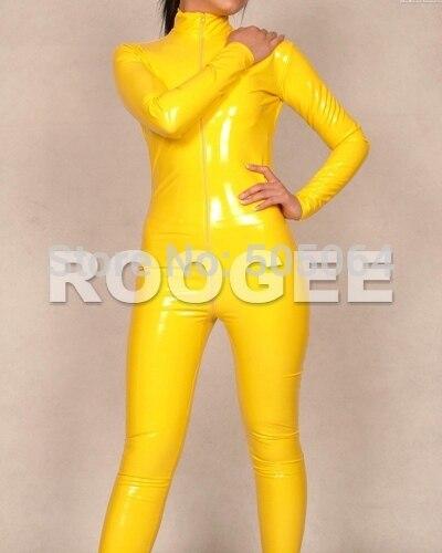 Желтый костюм кошки латексные комбинезоны высокого качества без ног с передней молнией на талии (сзади)
