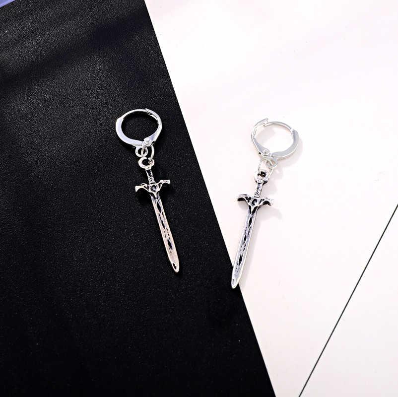 Dayoff europa legal redondo prata espada hoop brincos feminino áfrica do vintage punk earstud jóias femininas longo único brinco e598