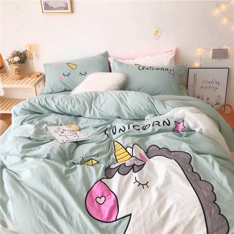 Green Pink White Yellow Lovely Cartoon Unicorn 100% Washed Cotton Bedding Duvet Cover Bed Sheet/Linen Pillowcases Gift For Child