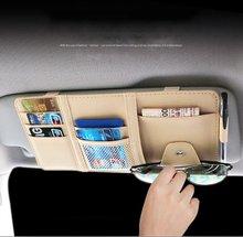 Auto Car Sun Visor PU Sunshade Cards Sunglasses Pen Storage Bag Holder Organizer Beige KLM-8