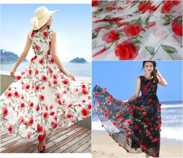 New 3d Flowers Fabric Tulle Lace Red 3d Chiffon Fabric Rosette