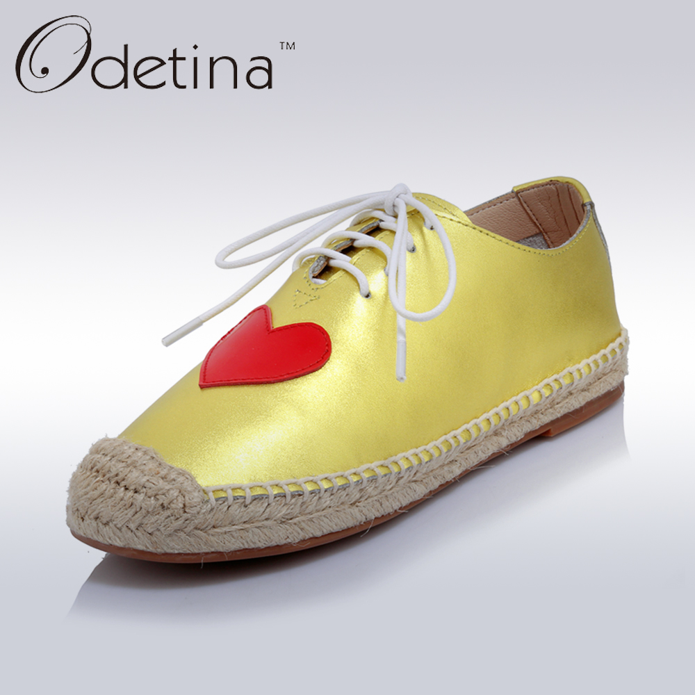 Odetina 2017 Spring Women Espadrilles Genuine Leather Platform Casual Shoes Ladies Slip on Flats Heart-shaped Shoes Hemp Sole fine zero spring women casual suede genuine leather platform flats tassel wedge slip on ladies creepers shoes red fur winter