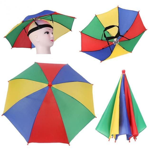 Pieghevole Ombrello Pioggia Protezione Del Cappello Headwear Ombrello per  la Pesca Escursionismo Campeggio Spiaggia Testa Cappelli 6c358d93cb12