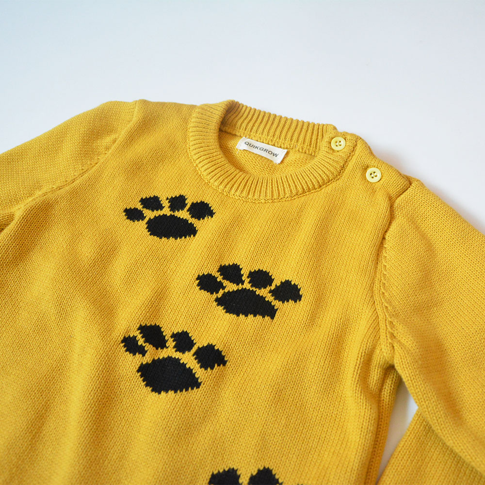 QUIKGROW-Thick-Warm-Baby-Boy-Girl-Sweater-Stylish-Yellow-Long-Sleeve-Cute-Puppy-Dogs-Paws-Pullover-Jumpers-Knitwear-YM07MY-4