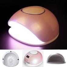 Профессиональная 48 Вт Светодиодная УФ-лампа для дизайна ногтей, сушилка с охлаждающим вентилятором, 24 светодиода, богиня, розовый, 5 файлов, контроль времени, белый светильник