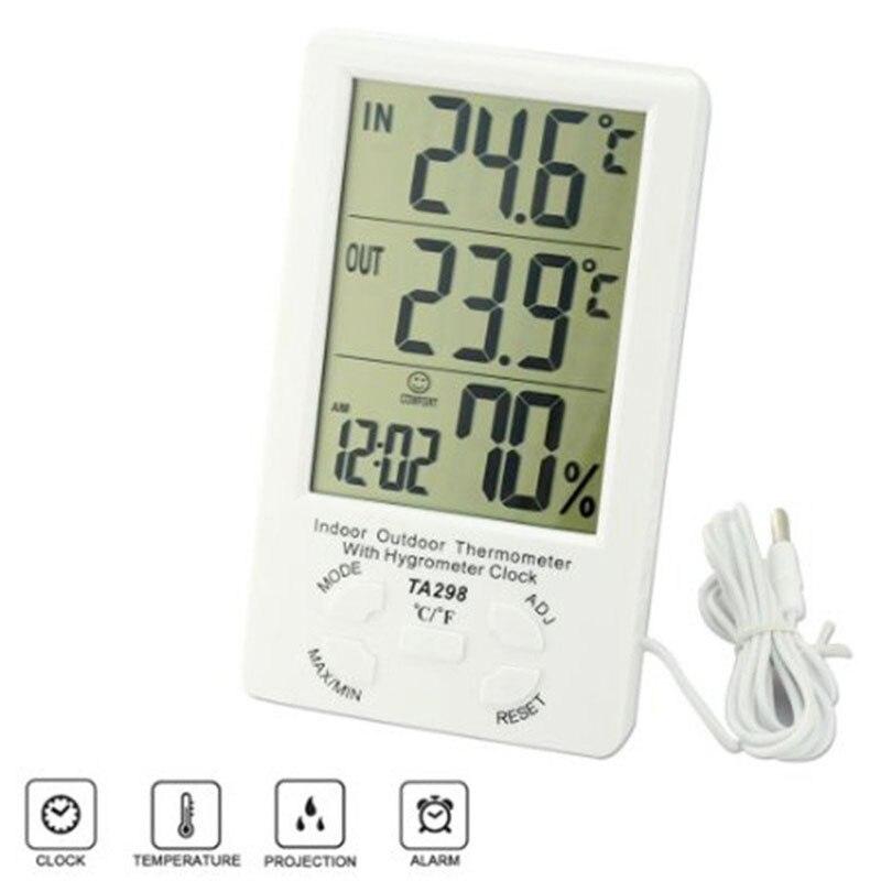 Numérique LCD Intérieur/Extérieur Thermomètre Humidité Hygromètre Avec Min/Max Valeur Et Horloge-M25