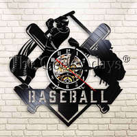 1 peça Profissão Jogador de Beisebol Rebatedor E Relógio de Parede Relógio de Parede Da Decoração Da Arte Silhueta Softball Catcher Jogo Relógio Disco de Vinil