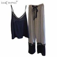 Lisacmvpnel Eis Silk Frauen Pyjamas Rayon Spaghetti Strap Nachthemd + Lange Stil Hose Set Casual Frauen Homewear