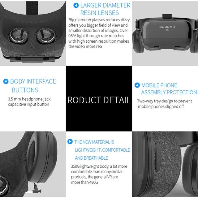 Oryginalny BOBOVR Z5 wciągający zestaw słuchawkowy wirtualnej rzeczywistości Stereo okulary 3D VR karton kask 120 FOV dla 4.7-6.2 'smartphone