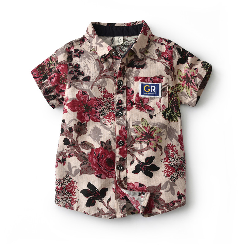 Boys Casual Flower   Shirts   Summer 2019 Cotton Toddler Boy   Shirt   Kids Short Sleeve   Blouse   Time Children Clothes 2 3 4 5 6 Years