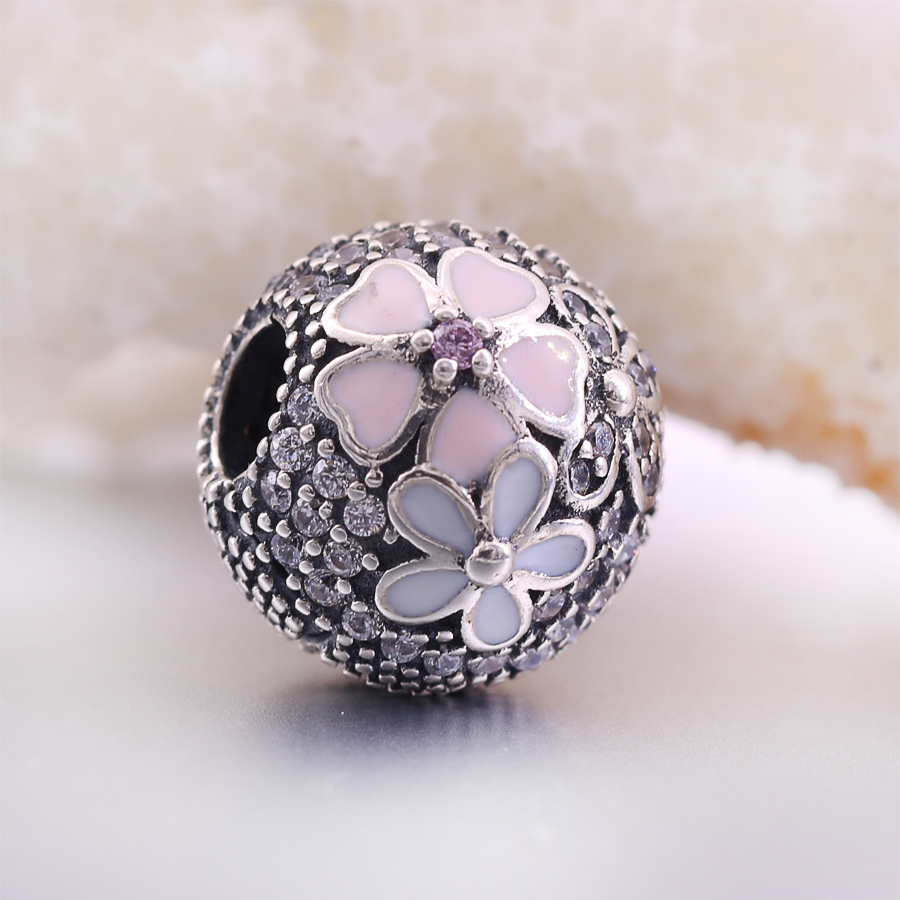 Fit Pandora Bracelets 2017 Spring Clip Flower beads Original 925 sterling silver Charms with Cubic Zirconia Fashion Jewelry