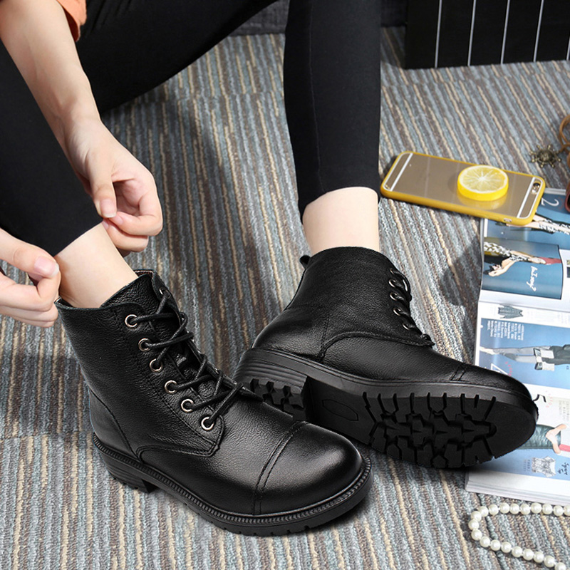 ФОТО Autumn Winter 111% Full Grain Leather WoMen Martin Boots With Plush Trend Square Heel Lace-up Mid-Calf Ladies Cotton Boots