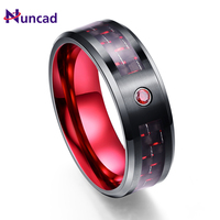Großhandel Party Ring Exquisite Rote Zirkon Männer Ringe 100% Wolframcarbid Eheringe Anillos para hombres Ring