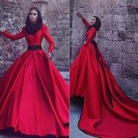 Арабский турецкий Исламская мусульманское свадебное платье с хиджаб Gelinlik 2019 длинным рукавом принцесса красный свадебное платье Винтаж на