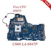 NOKOTION Laptop Motherboard For Toshiba Satellite C660 K000114920 PWWAA LA 6847P PGA 988A DDR3 Main board free cpu works