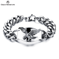 Grace Moments 22cm Fashion Bracelet Eagle Raised Quality Stainless Steel Bracelet Men Jewelry Heavy Link Chain