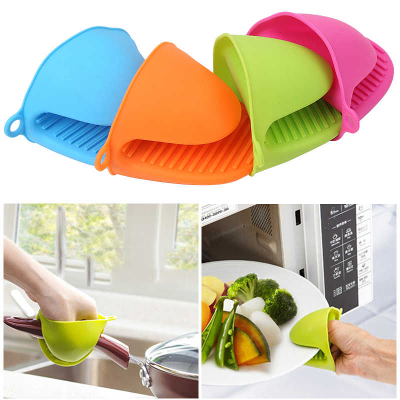Colorful Heat Resistant Gloves Clips Microwave Silicone Baking Oven Anti-Hot Silicone GlovesPot Bowel Holder Clip Kitchen Tools