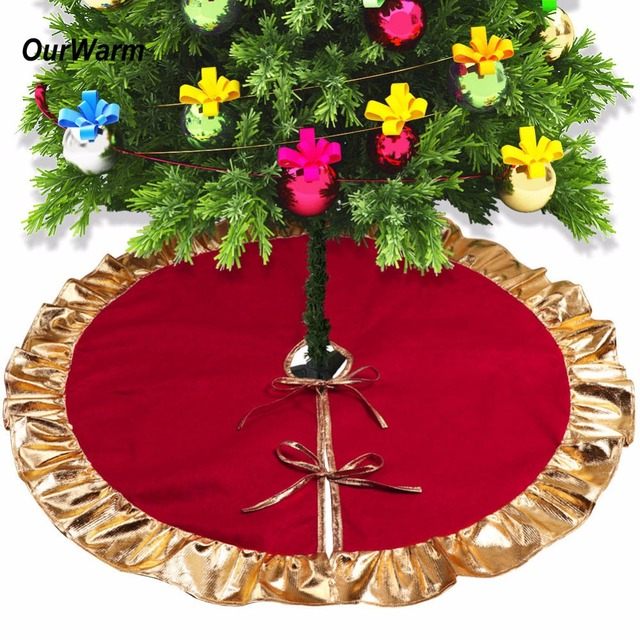 ourwarm 1pc 90cm red christmas tree skirt with golden ruffle edge