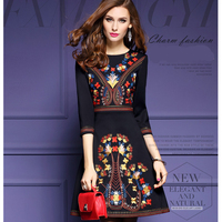 2019 New Vintage ethnic style Dress Women Fashion High Quality Luxury Embroidery Party Dresses Female Black Loose Plus Size 3XL
