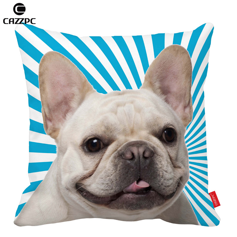 Blue Stripe Rays Cute Bulldog dog Print Car Decorative Throw Pillowcase Pillow cases Cushion Covers Sofa Chair Home Decor