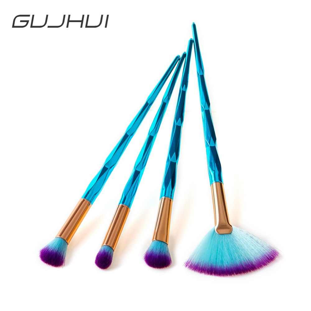 2018 New 4Pcs Diamond Blue Eye Makeup Brushes Set Cosmetics Eyeshadow Concealer Blending Fan Shape Make Up Beauty Tools #257541