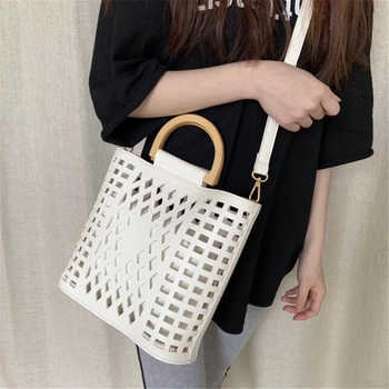 Women Bags Handbags 2019 Famous Brands Hollow Out Beach Bag Bolsa Feminina Wood handle tote bags PU leather shoulder bag Purses
