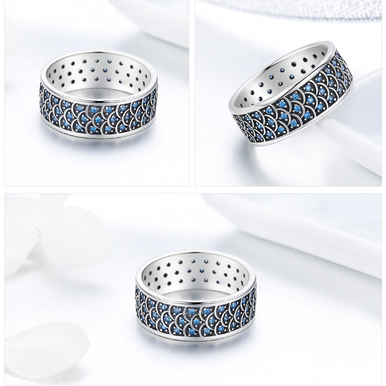925 Sterling Silver Charming Ocean Blue Crystal Round Cocktail Ring