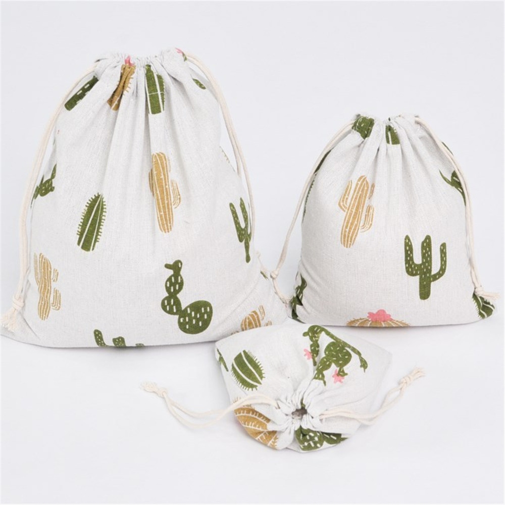 YILE Cotton Linen Drawstring Organized Bag Party Gift Bag Print Cactus YM16c