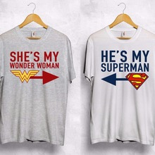 0672b6dfdc O neck he is my superman Shes my miracle woman T shirt couple Valentine's  Day gift