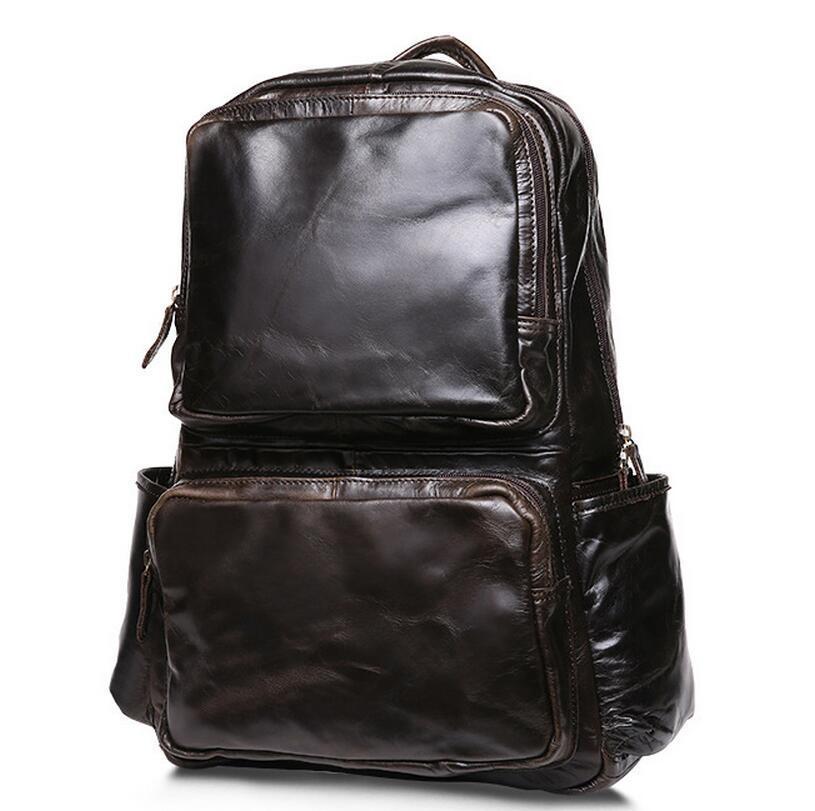 Hot Sale Oil Wax Cowhide Backpacks Western Style Fashion Genuine Leather Men Laptop Bags Travel Mochila Zip Casual Daypacks retrospect of western travel