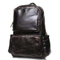 Sıcak Satış Yağ Mumu Dana Sırt Batı Tarzı Moda Hakiki Deri Erkekler Laptop Çantaları Seyahat Mochila Zip Casual Daypacks