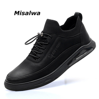 Misalwa Men's Leather Casual Shoes Spring Autumn PU Leather Adult Fashion Mens Casual Sneakers Men Loafers Luxury Brand