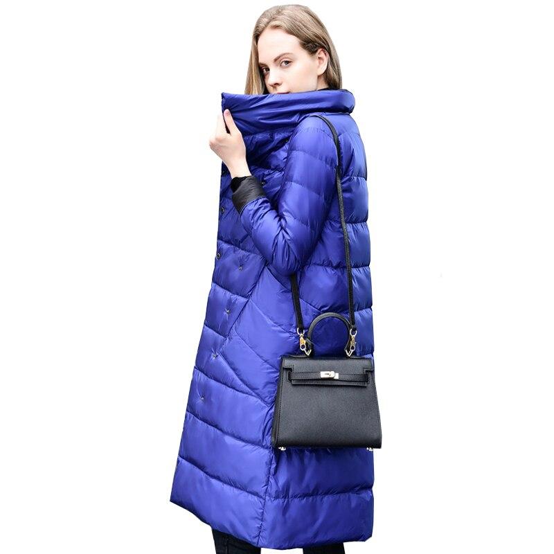 Kadın Giyim'ten Şişme Montlar'de FTLZZ Kadınlar Kış Yeni Işık Ince Aşağı Ceket Ofis Bayan 90% Çift Taraflı Beyaz Ördek Aşağı Ceket Overknee Sıcak Kadın giyim'da  Grup 2