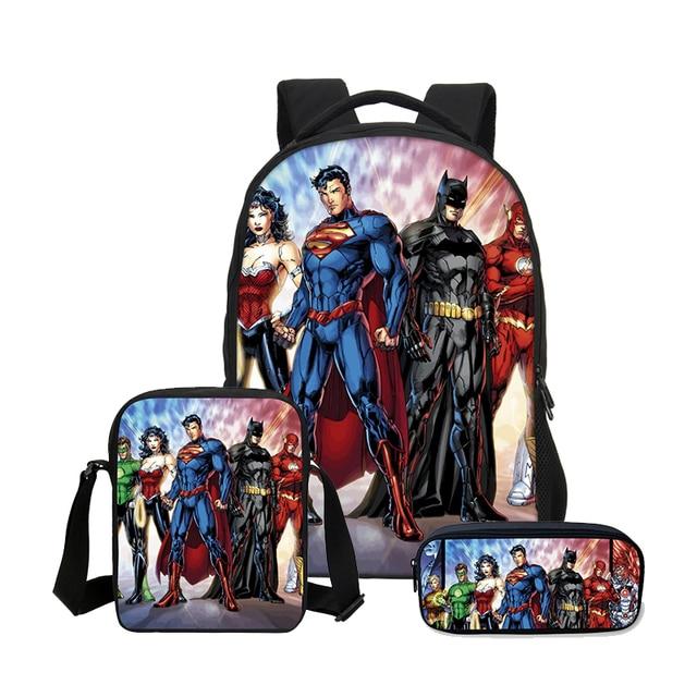 VEEVANV Batman Boys School Backpacks Fashion Travel 3 Pcs Set Children Cool  Super Hero Printing Bookbag faf3a5a4a31e6