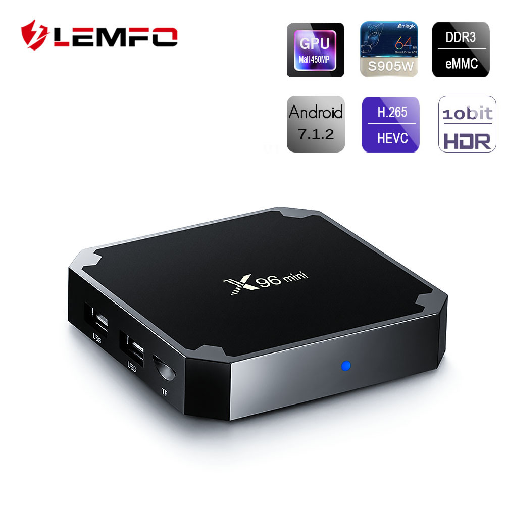 LEMFO X96 Mini Smart Android TV Box Android 7.1 S905W Quad Core 1GB + 8GB 2.4G WiFi 4K HD Iptv AirPlay Set Top Box PK Mi