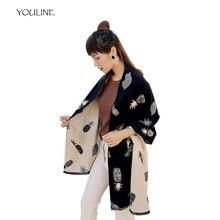 9c63934d0b71 YOULINE Hiver Femmes de Cachemire Écharpe Ananas motif Imprimer  Surdimensionné Foulards double face Multifonction cape Châles