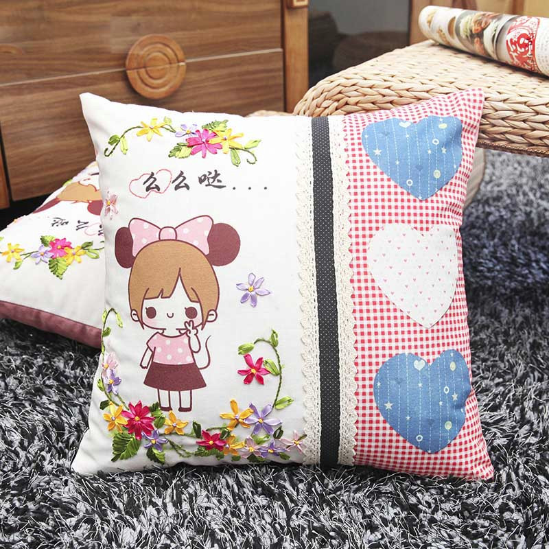 Aliexpress Buy Cute Cartoon Pillow Ribbon Embroidery Kit