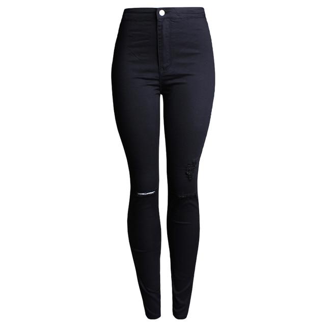 2016 New Ripped Women Jeans Stretch Hole Fashion Casual Designer Brand Denim Skinny Pencil Jeans W0006