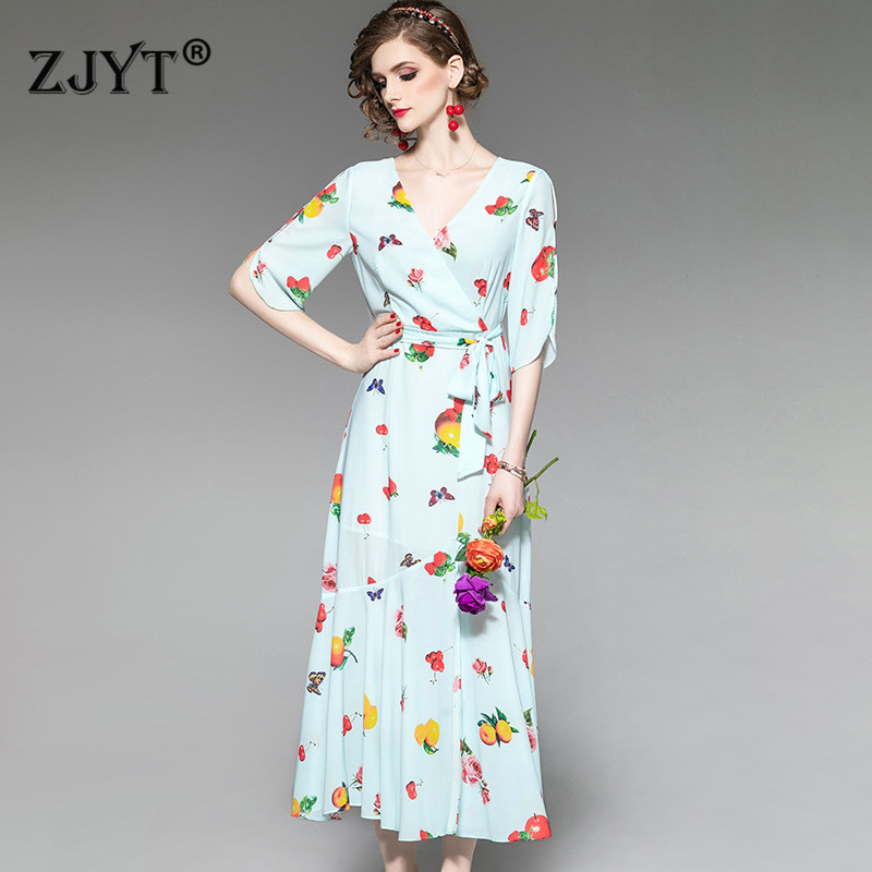 New Arrival Summer Dresses Women 2019 Elegant Designer V Neck Half Sleeve Fruit Print Lace Up