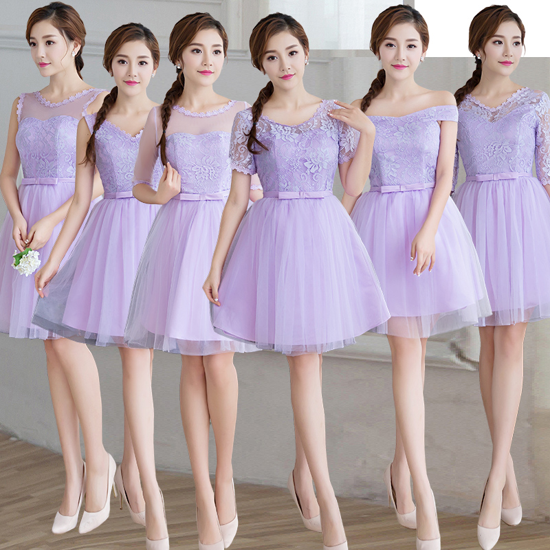 Knee Length Pink Cheap Bridesmaid Dresses Lace Half Sleeve Short ...