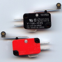 10 Pcs/lot Microswitch Long Lever AC 250V 15A HV-156-1C25 SPDT Roller Lever Micro Switch Q0005 P0.3