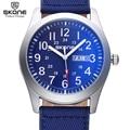 SKONE Men Sport Watch Fabric Band 24 hour Watch Clock Week Date Analog Quartz-watch Casual Military Army Watch relogio masculino