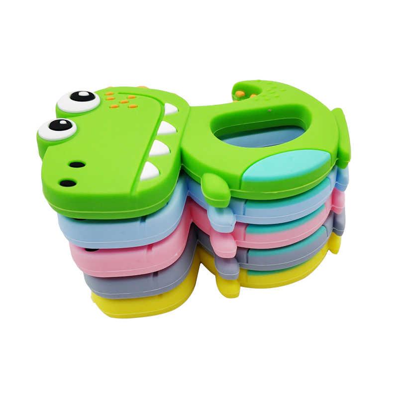 Безопасный мультфильм детские трофеи BPA бесплатно Милые Животные Динозавр младенец изготовленное вручную кольцо Прорезыватель малыша силиконовые жевательные Подвески Дети Прорезыватель игрушки