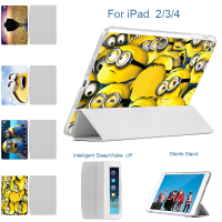 MTT Minions Film Ultra Thin Stand Design PU Leather Case For Ipad 3 4 2 Cover