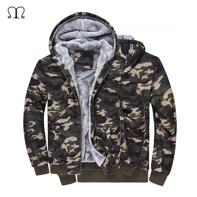 a5433de568e8 Camouflage Hommes vestes 2018 avec Chapeau 100% Coton pour L automne Hiver  Manteau Militaire